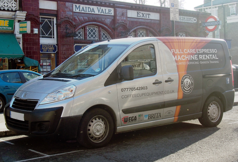 coffee cup van outside the maida vale