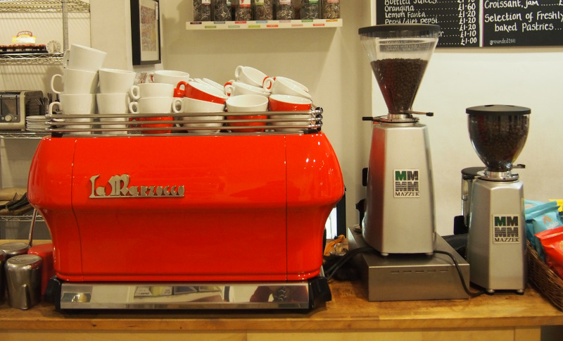 Red La Marzocco Coffee Machine and grinders